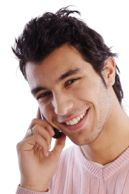 Picture of a man smiling whilst on hold