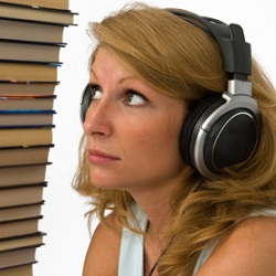 Woman listening to audio books