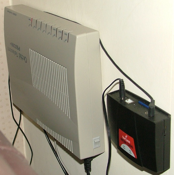 On-hold hardware mounted on the wall