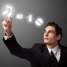 Man pressing music icon to find out more about using music