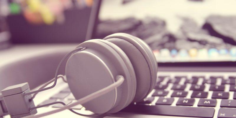 Image of headphones on laptop keyboard