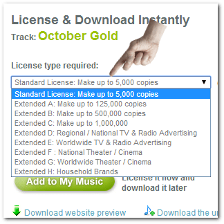 Royalty-free music license options