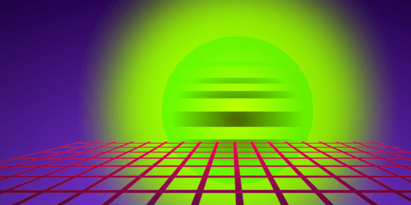 Vaporwave style image of neon 3D grid